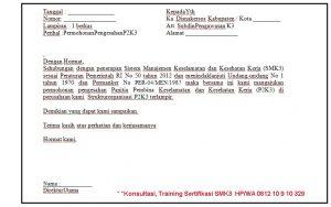 Contoh Surat Pembentukan P2K3