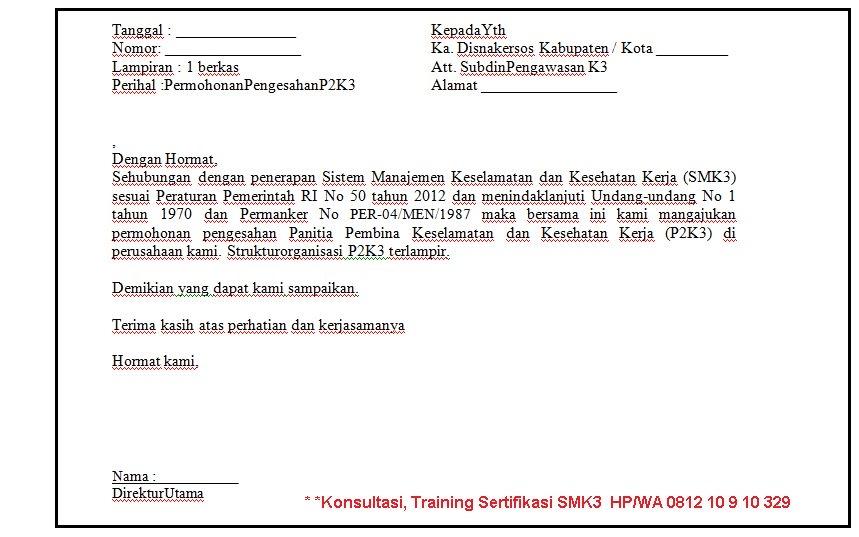 Contoh Surat Pengajuan Tim P2k3 Perusahaan Smk3