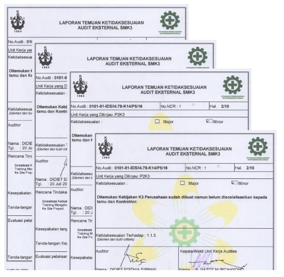Laporan Audit Sertifikasi Smk3 Sistem Manajemen K3 Smk3